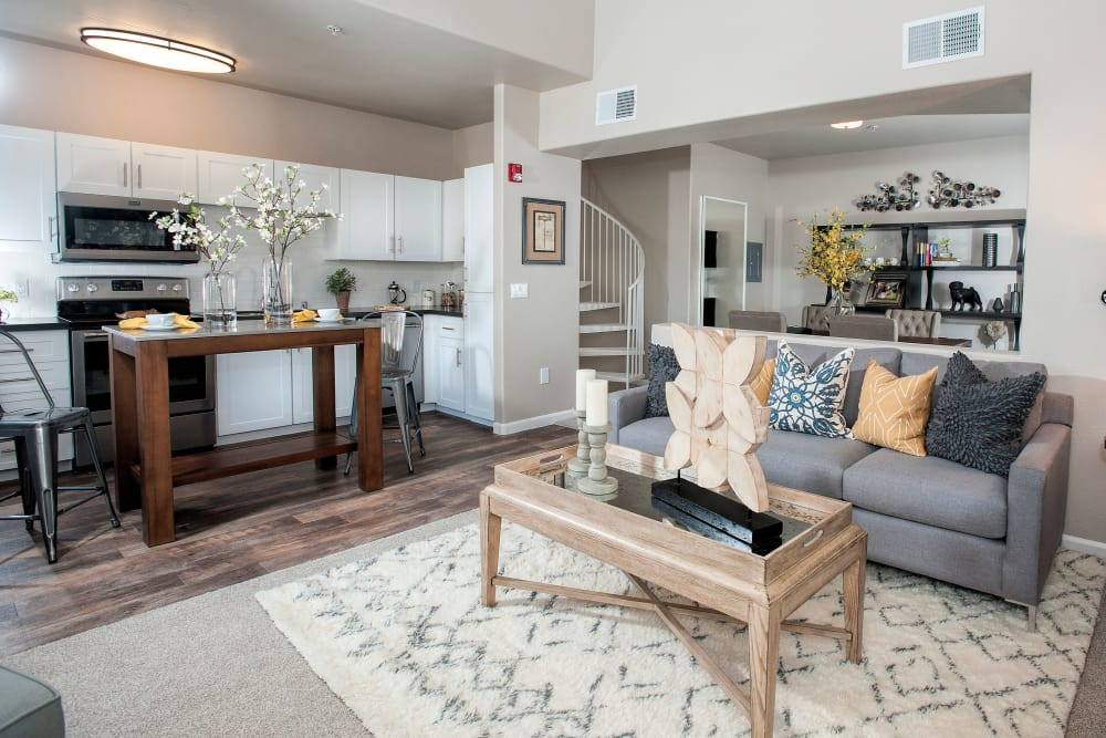 Model living room at Venu at Galleria Condominium Rentals in Roseville, California