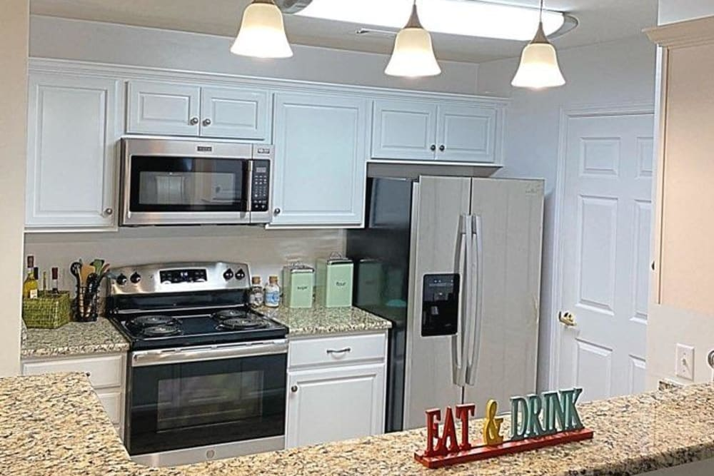Modern kitchen at Glade Creek Apartments in Roanoke, Virginia