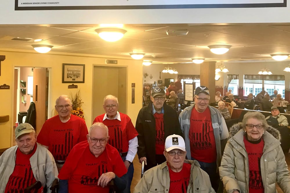 Residents gathered for a photo at Brookstone of Aledo in Aledo, Illinois