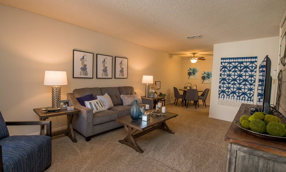 Bright and spacious living room at Sunchase Apartments in Tulsa, Oklahoma