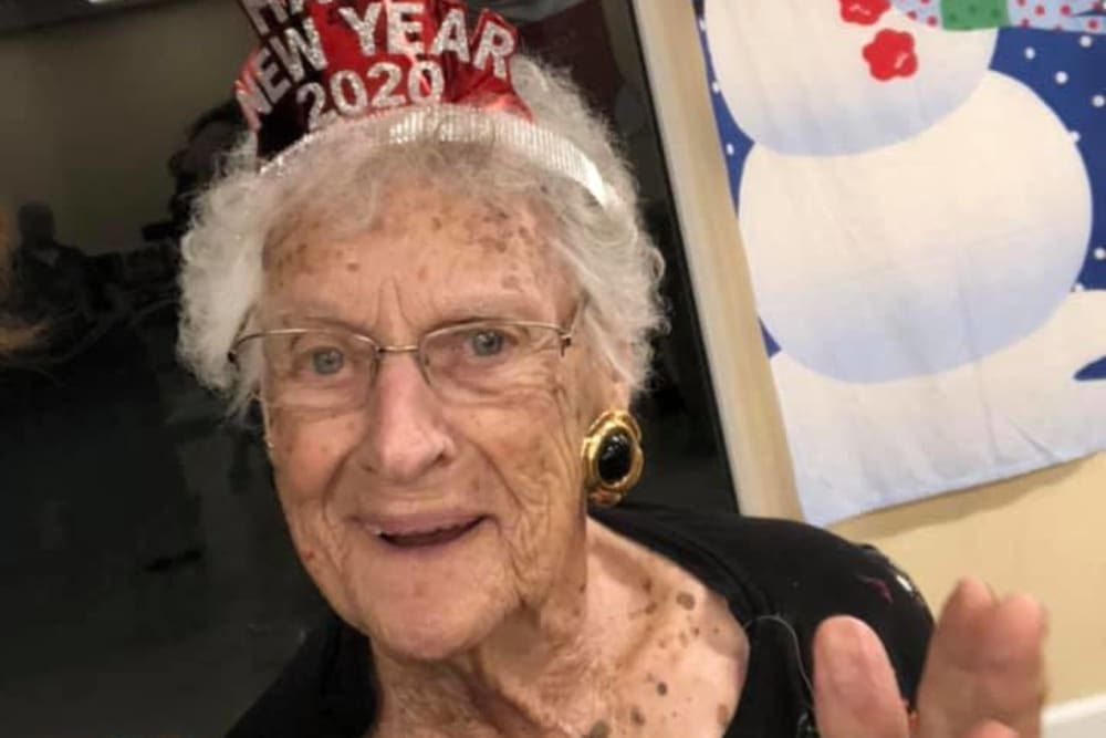 A resident celebrating the new year at The Grande in Brooksville, Florida
