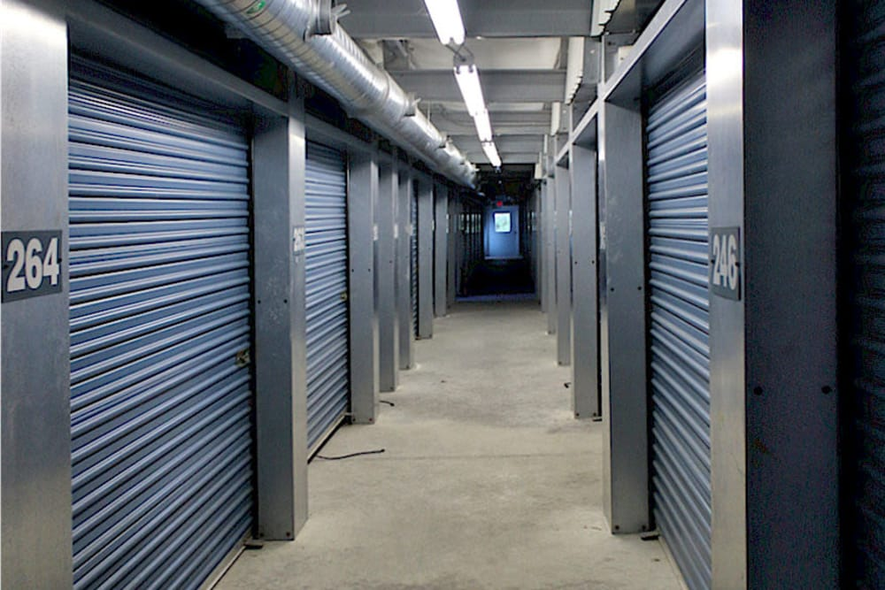 Hallway of indoor storage units at Prime Storage in Saco, Maine