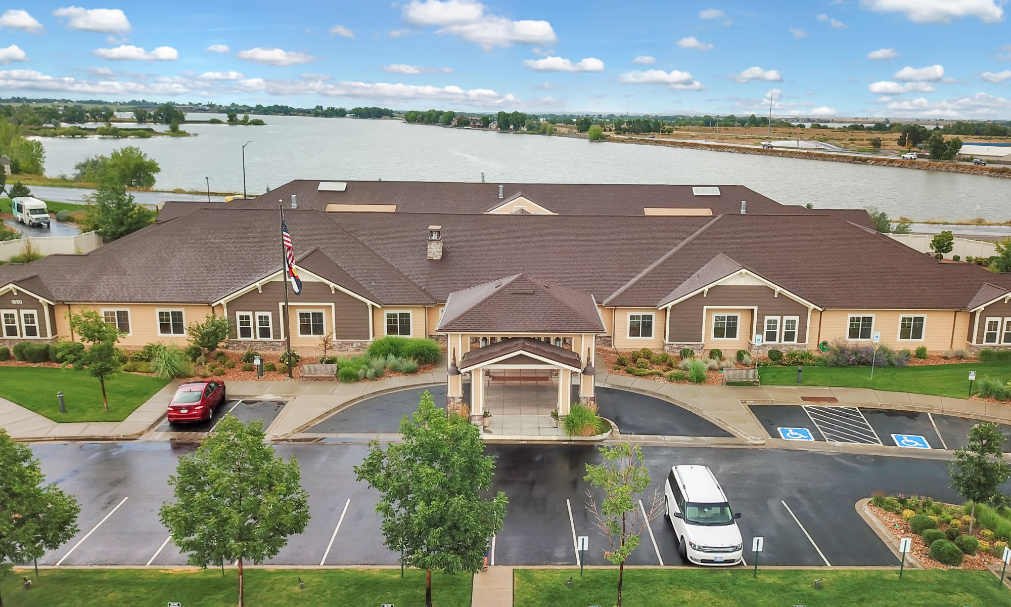 Arial view of Seven Lakes Memory Care in Loveland, Colorado
