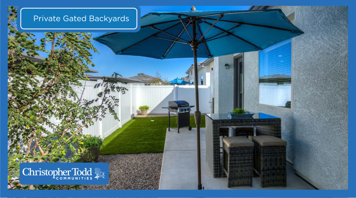 Private patio and yard at Christopher Todd Communities On Camelback in Litchfield Park, Arizona