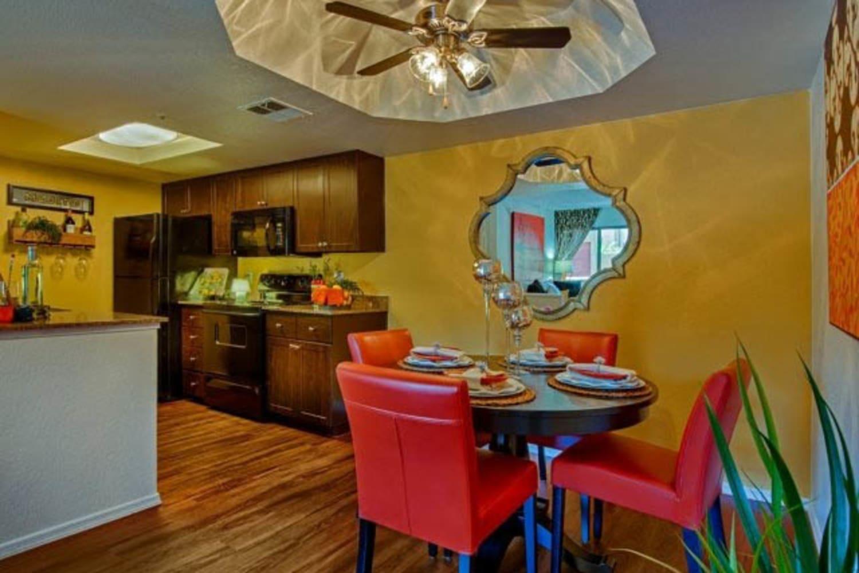 Enjoy an open dining area at Casa Santa Fe Apartments in Scottsdale, Arizona