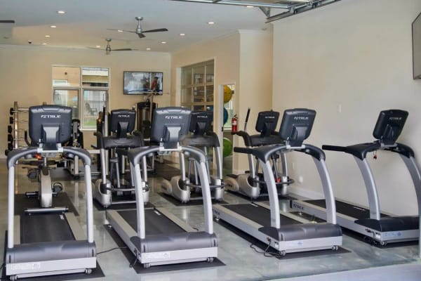 Fitness center with treadmills at Encore North in Greensboro, North Carolina