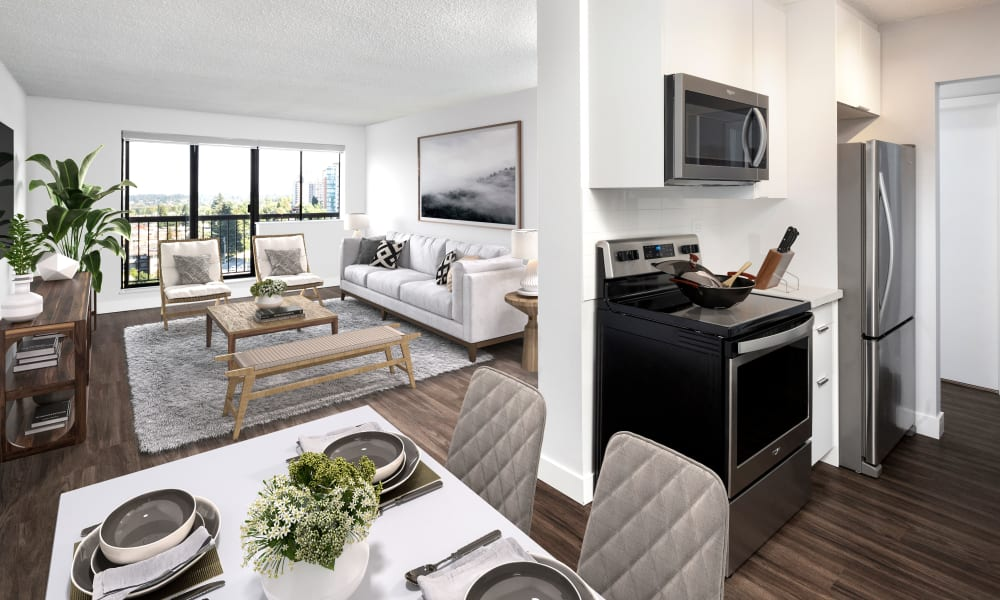 Spacious floor plan at Panarama Tower in Burnaby, British Columbia