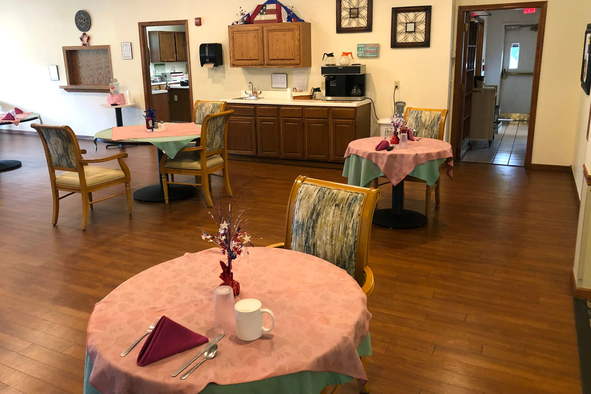 Interior lounge in main building at Ashbrook Village in Duncan, Oklahoma.
