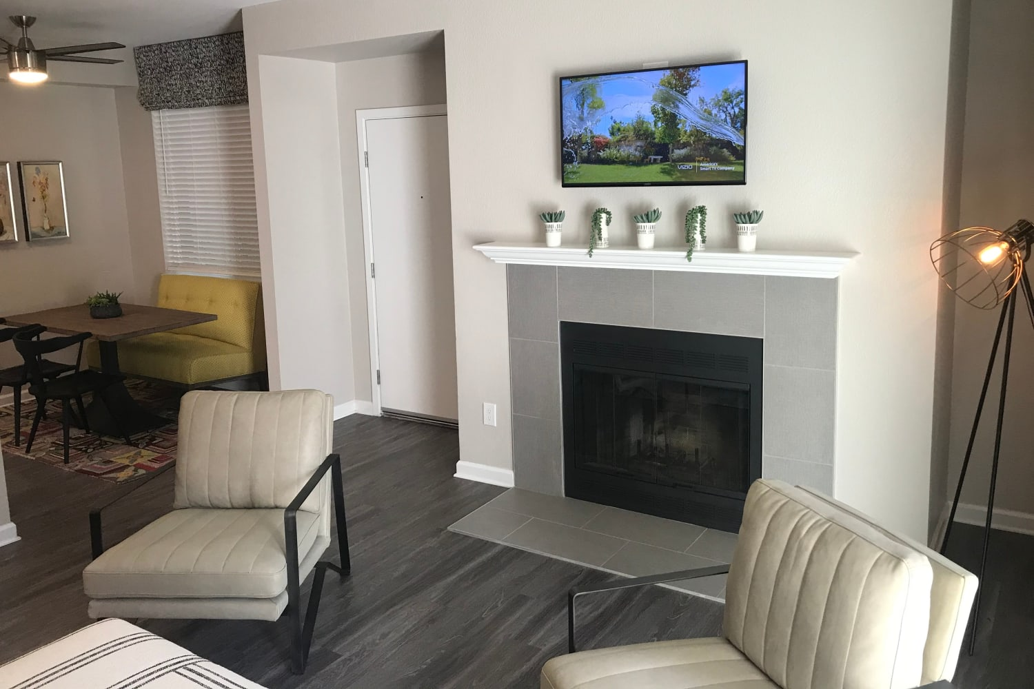 Fireplace and chairs at Cotton Wood Apartments in Dublin, California