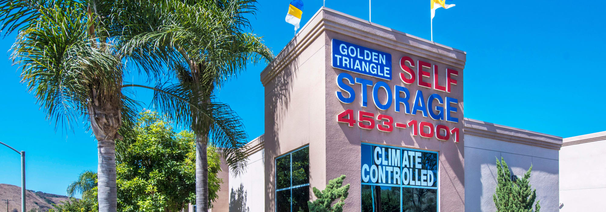 Branding on the exterior of Golden Triangle Self Storage in San Diego, California