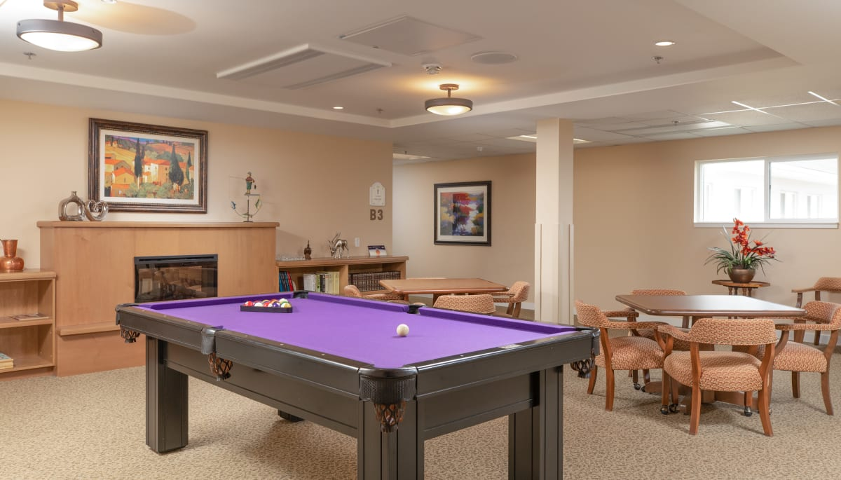 Pool table in rec room at Touchmark at Wedgewood in Edmonton, Alberta