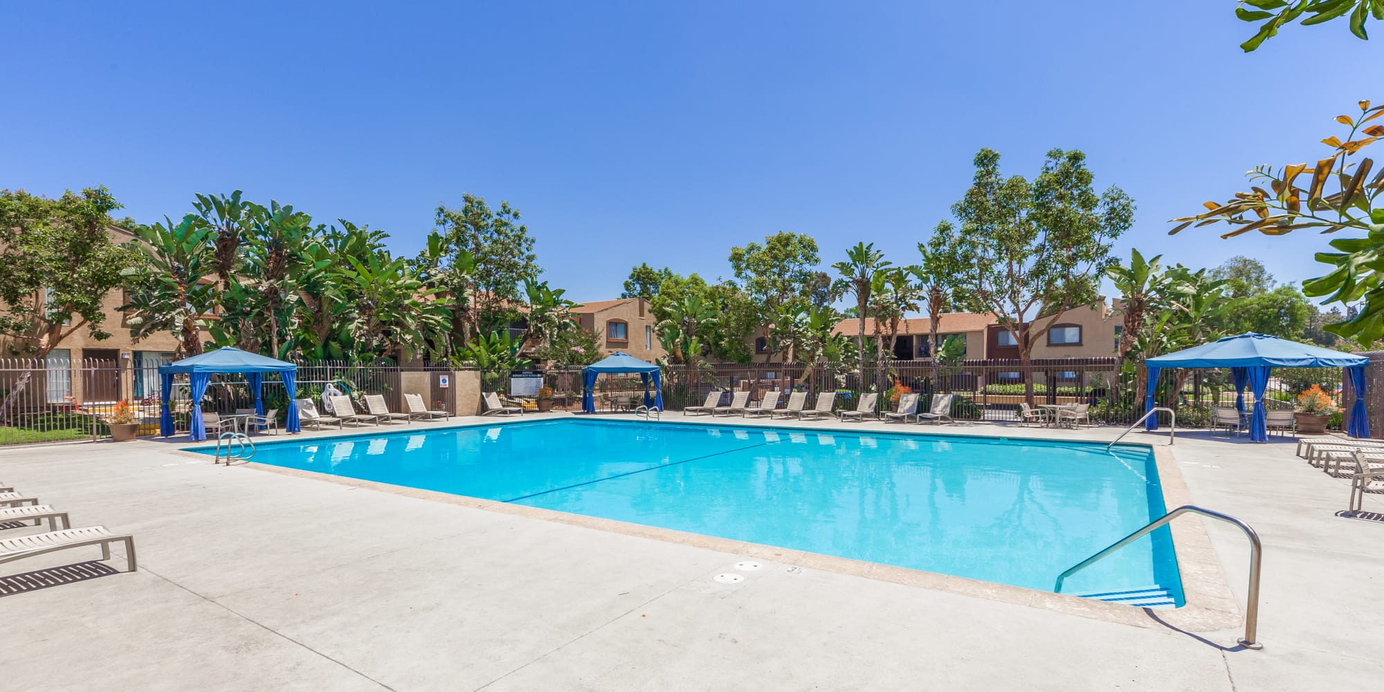 Beautiful swimming pool at West Fifth Apartments in Ontario, California