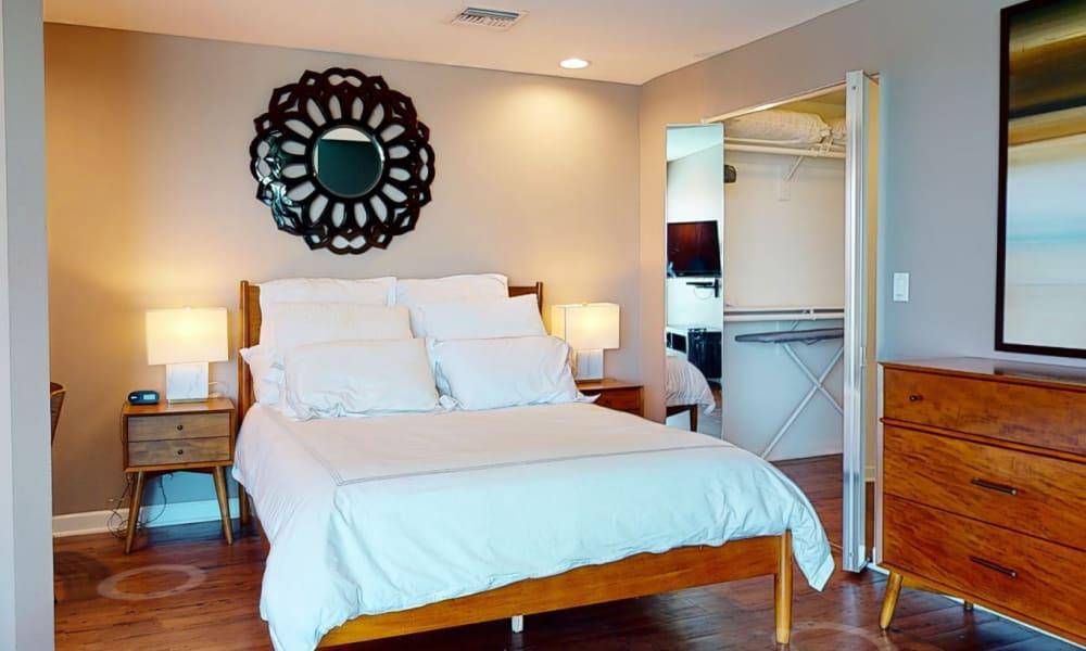 Studio home's beautifully furnished bedroom area at Esprit Marina del Rey in Marina del Rey, California
