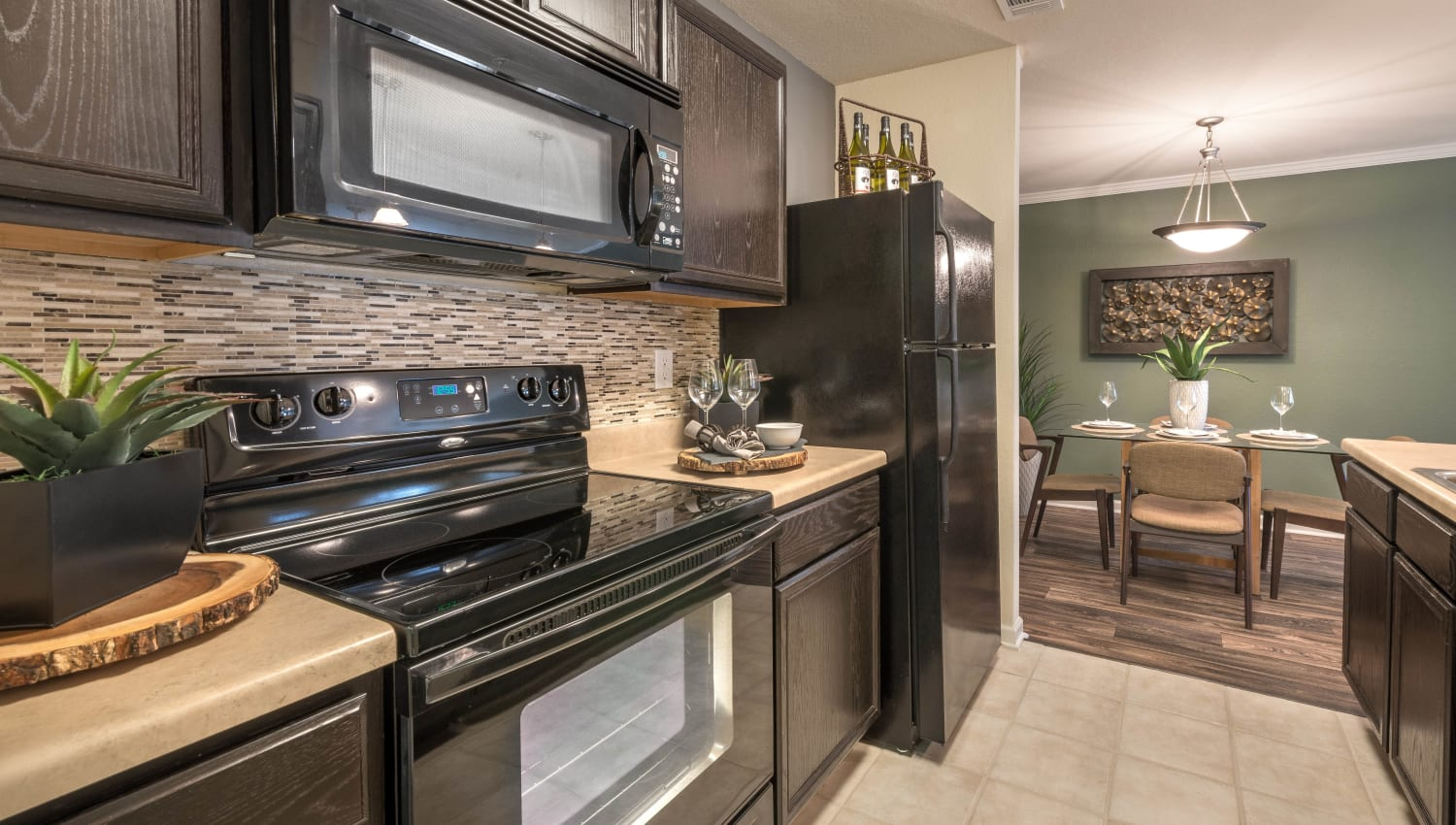 Model apartment's kitchen at Olympus Hillwood in Murfreesboro, Tennessee
