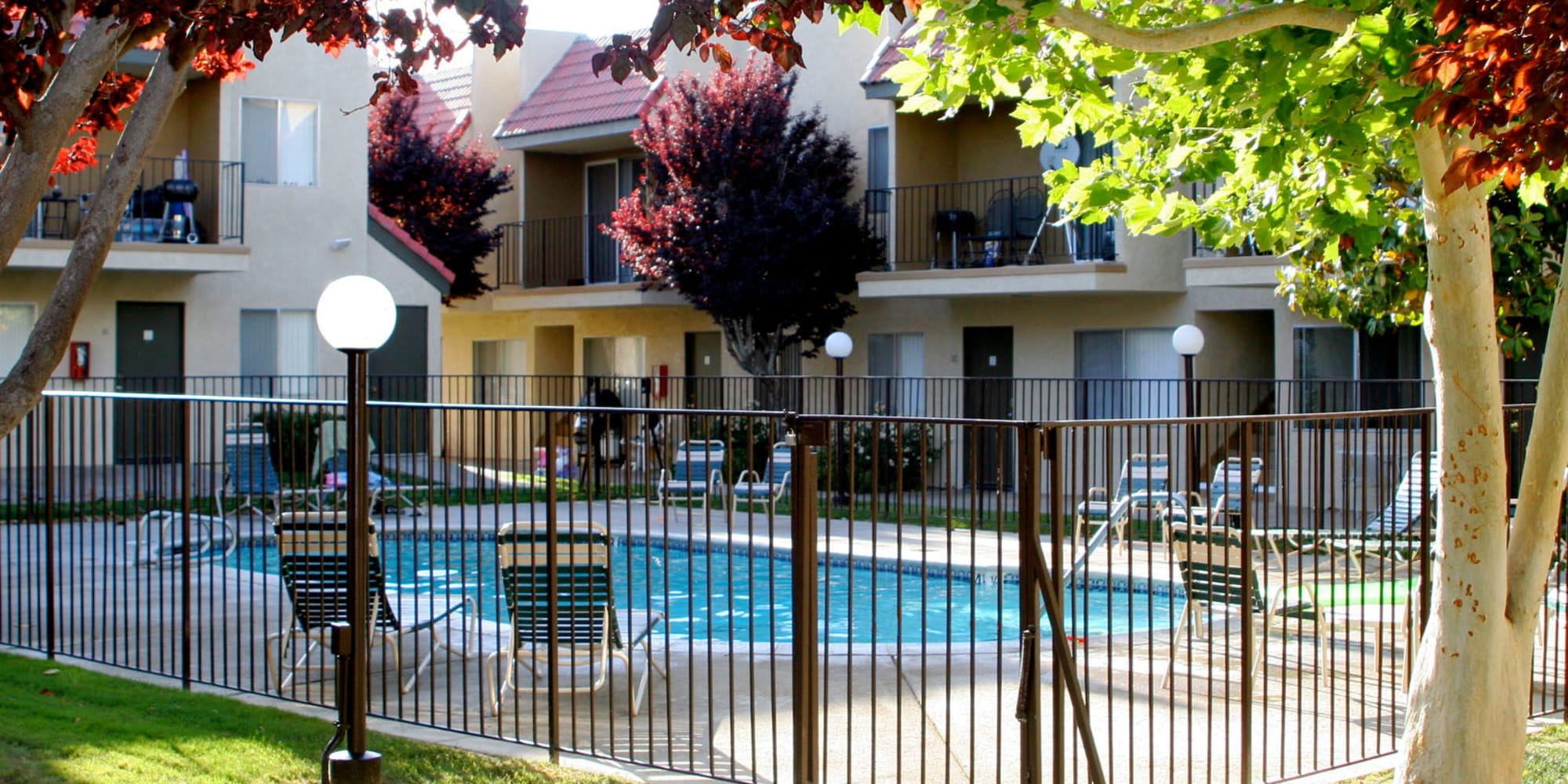 Gated swimming pool area at Parkwood in Lancaster, California