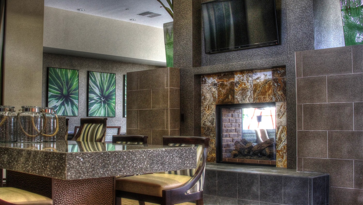 Bar seating in the clubhouse at Redstone at SanTan Village in Gilbert, Arizona