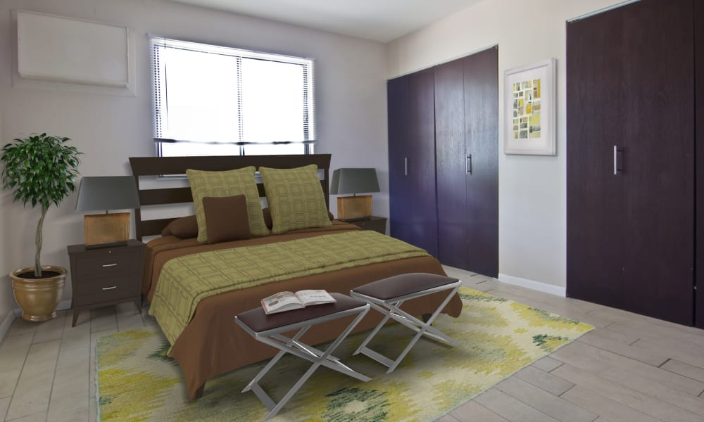 Cozy bedroom at The Flats at Gladstone