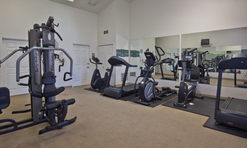 Get your workout in at Steeplechase Apartments & Townhomes's fitness center