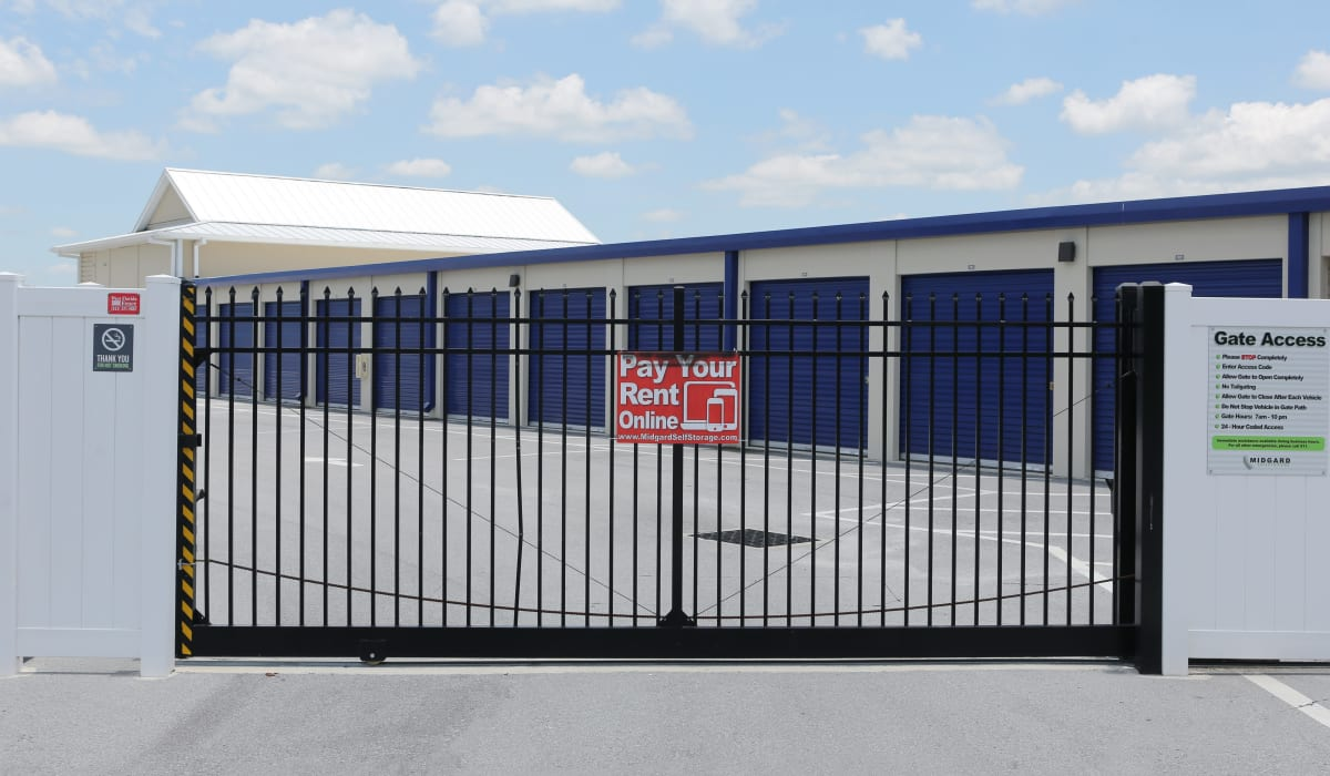 Security gate at Midgard Self Storage in Bradenton, FL