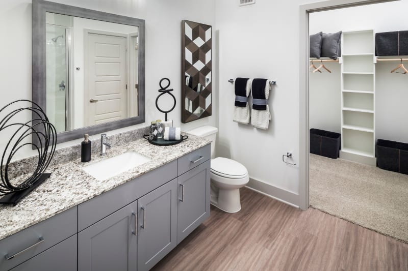 Roomy bathroom with lots of storage space under the large vanity at The ReVe in Garland, Texas