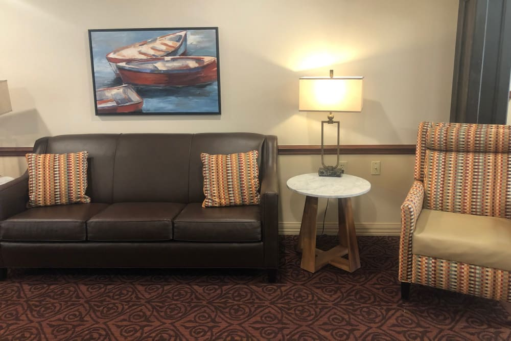 Comfy couch and chair at Triple Creek Retirement Community in Cincinnati, Ohio