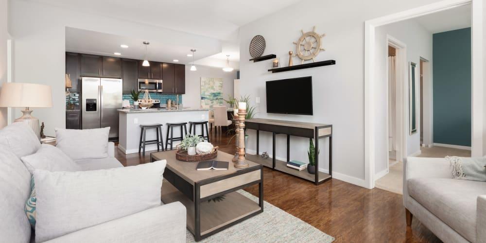 Modern spacious living room in a model home at High Ridge Landing in Boynton Beach, Florida