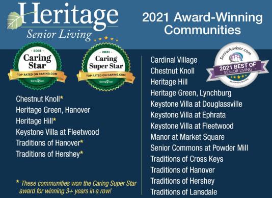 Heritage Senior Living Award winning communities