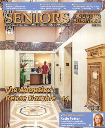 Regency Palms Senior Living feature on the front page of senior housing business magazing