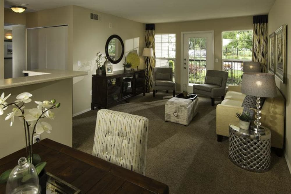 Model living room at Fairstone at Riverview Apartments in Taylorsville, Utah