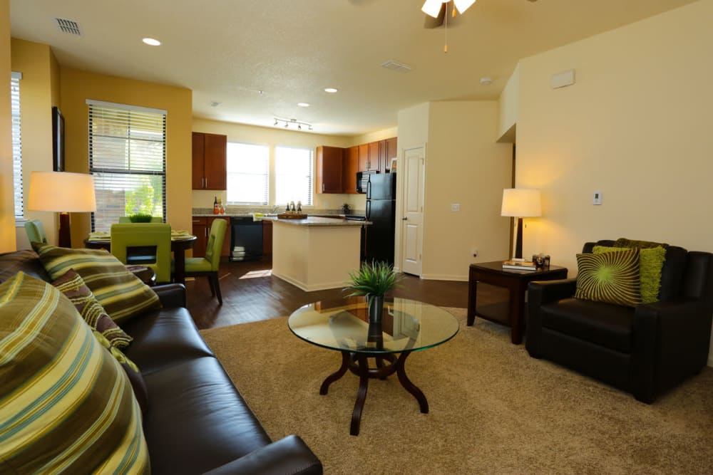 Well-furnished living area in a model apartment at The Hawthorne in Jacksonville, Florida