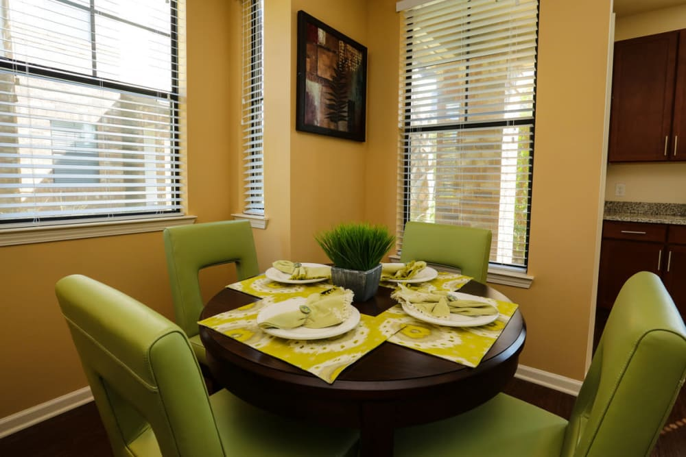Dining nook in a model apartment at The Hawthorne in Jacksonville, Florida