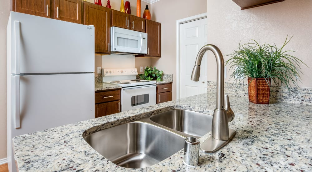 Granite countertops and white appliances in a kitchen at Ballantyne Apartments in Lewisville