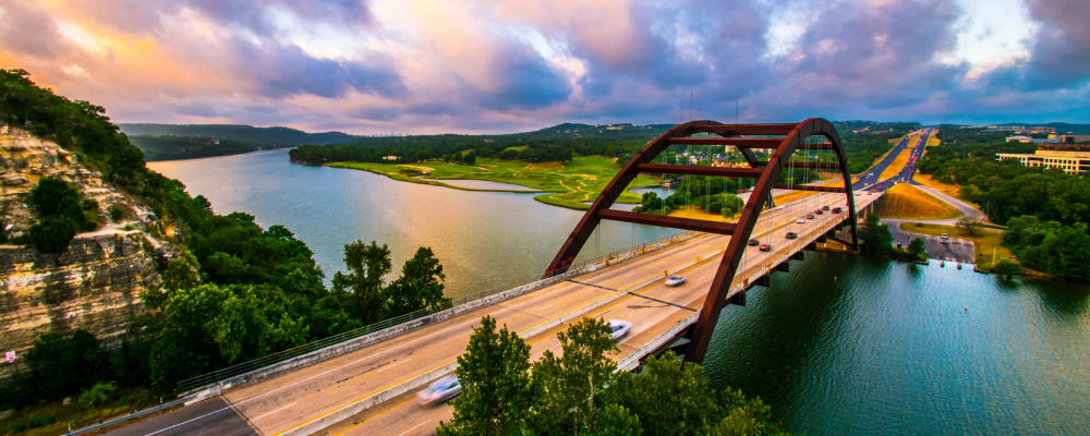 Aerial view of bridge near Regents West at 24th in Austin, Texas
