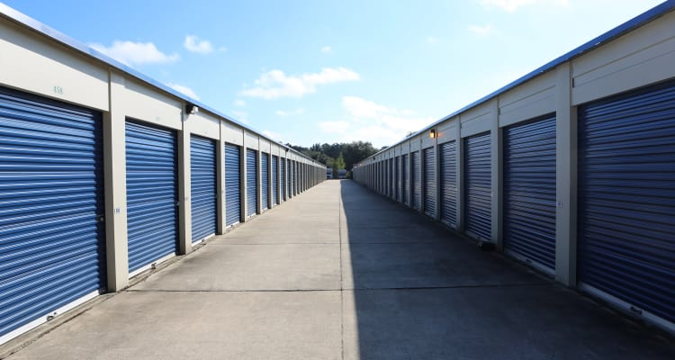 Exterior storage units at Midgard Self Storage in Newberry, Florida