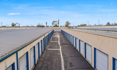 Hall of exterior units at Storage Star in Modesto, California
