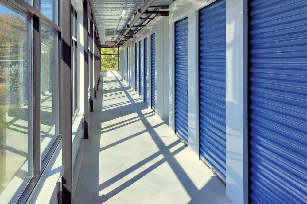 Hallway of units at Prime Storage in Mechanicville, New York