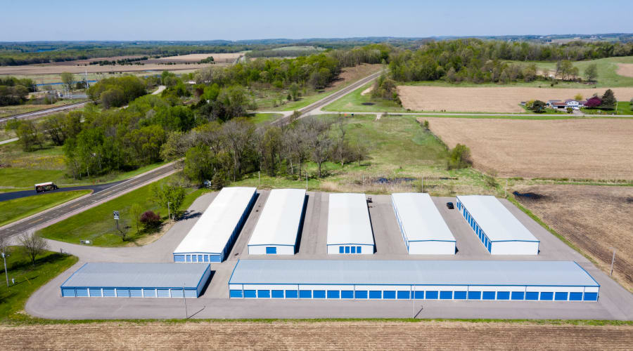 Aerial view of facilities and units at KO Storage of Wisconsin Dells Hwy 16 in Wisconsin Dells, Wisconsin