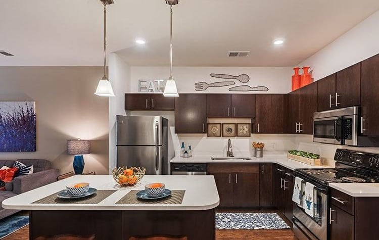 Modern kitchen at The Kane at Gray's Landing in Aliquippa, PA