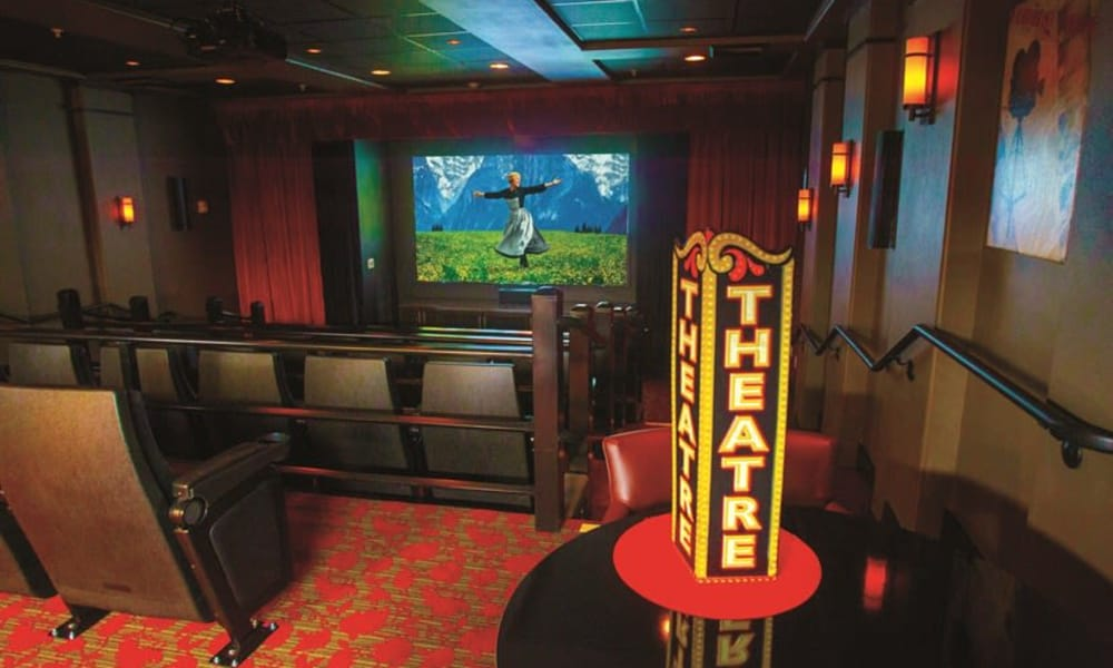 Authentic onsite movie theater at Alexis Estates Gracious Retirement Living in Allen, Texas