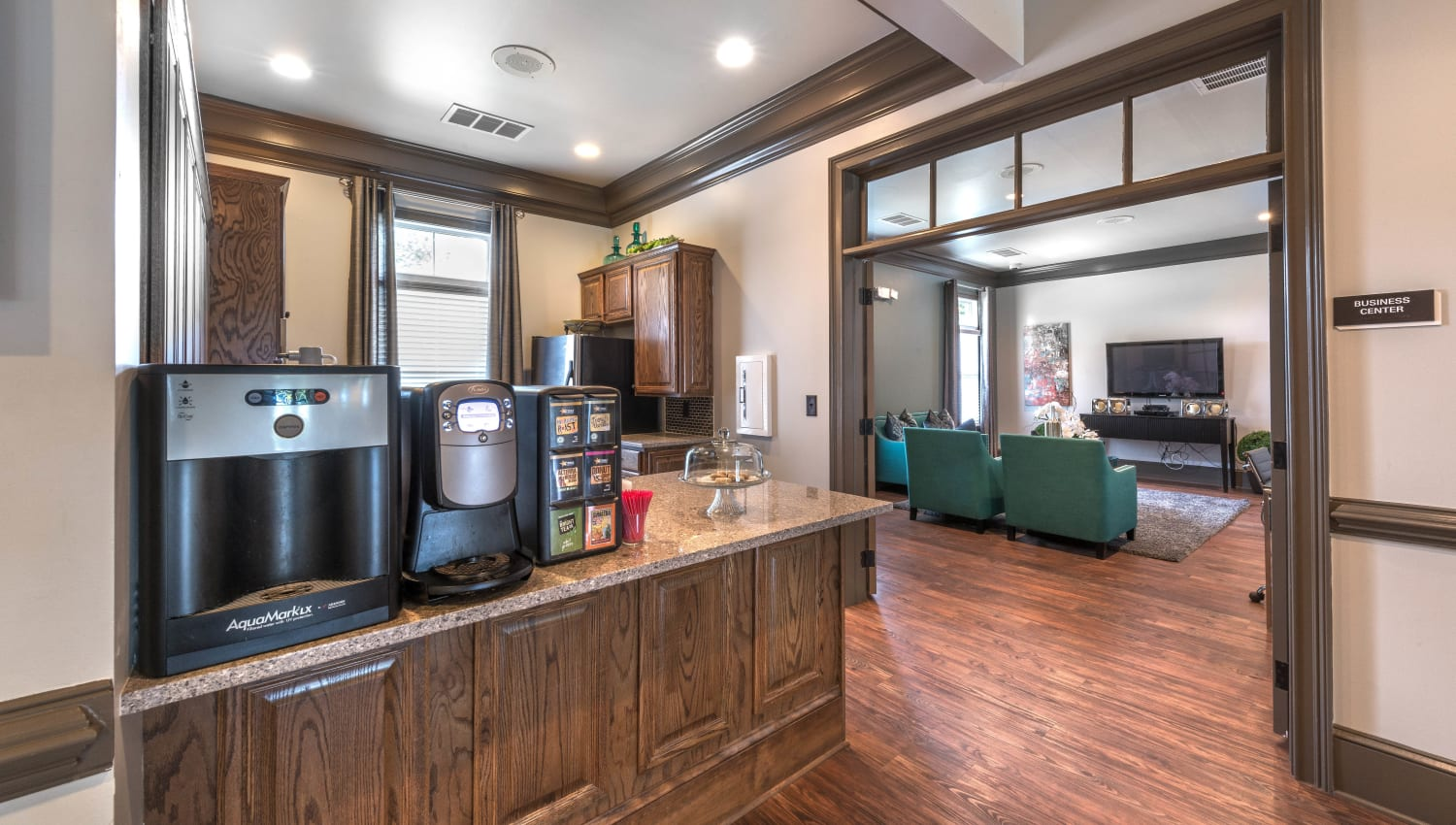 Complimentary coffee in the clubhouse at Olympus Hillwood in Murfreesboro, Tennessee