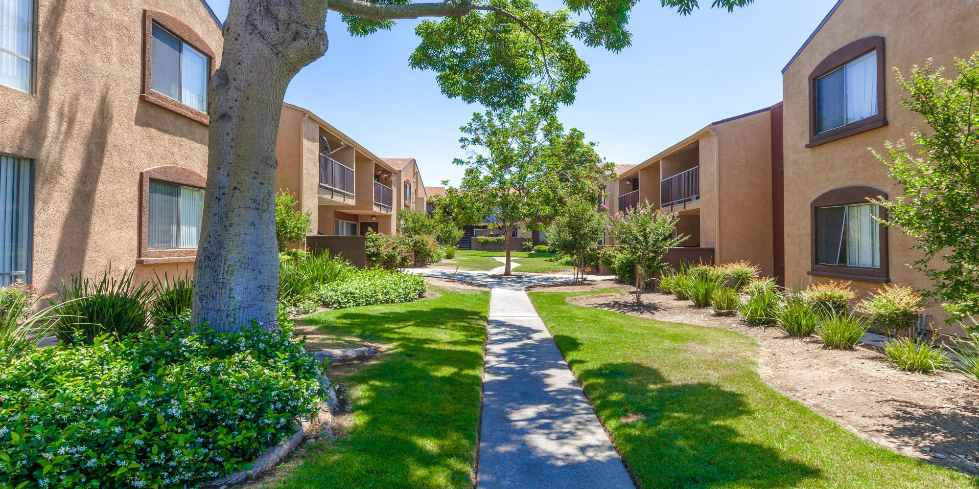 Walking path at West Fifth Apartments in Ontario, California