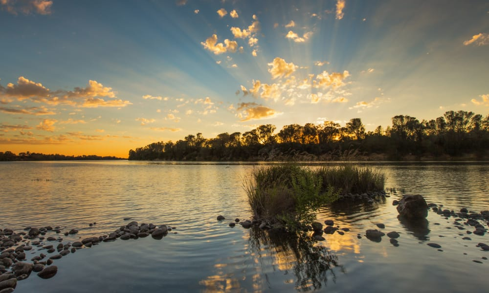 A beautiful lake and sunrise at Almond Heights in Orangevale, California