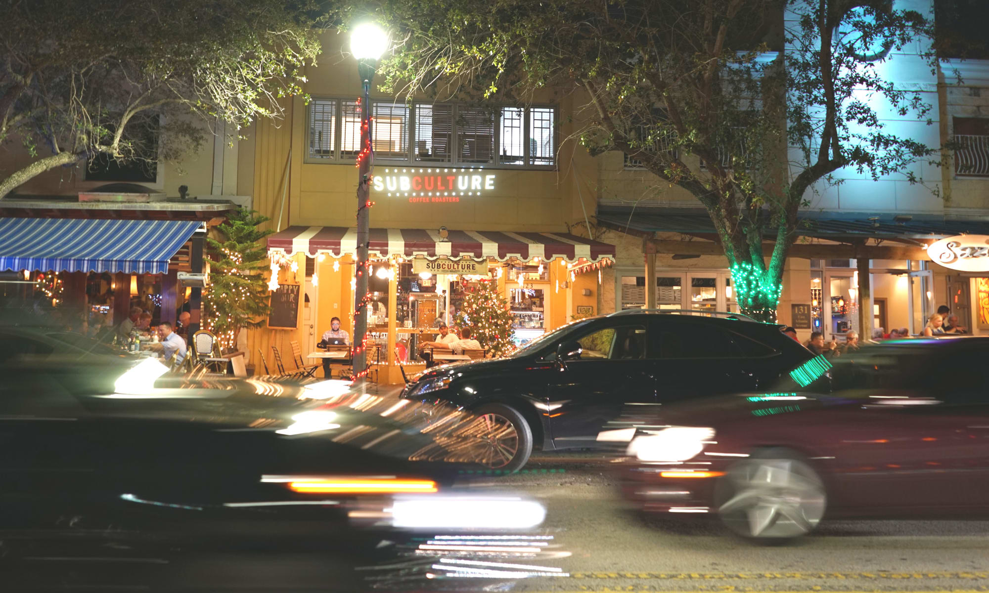 Night life around Delray Station in Delray Beach