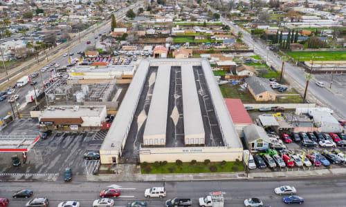 Ariel view of Exterior Storage Units at Storage Star in Modesto, California