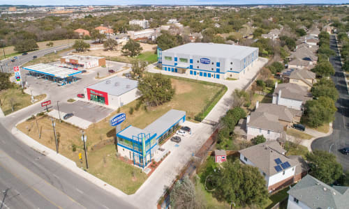 Drone view of storage facility at American Value Storage in San Antonio, Texas