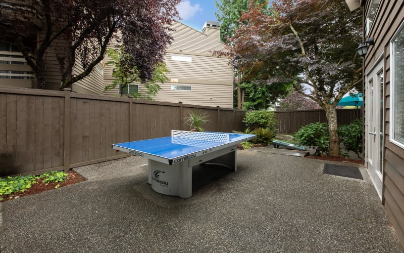 The outdoor ping pong table at Latitude Apartments in Everett, Washington