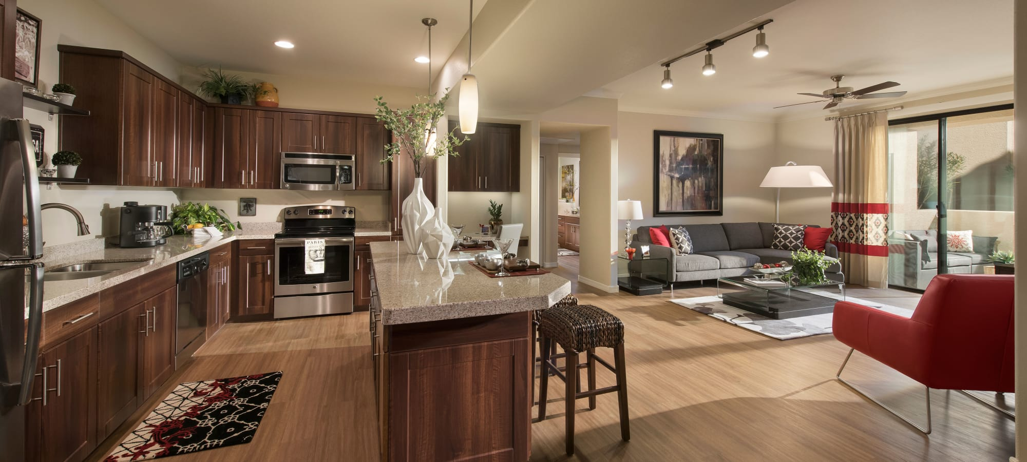 Spacious living area in model home at San Travesia in Scottsdale, Arizona