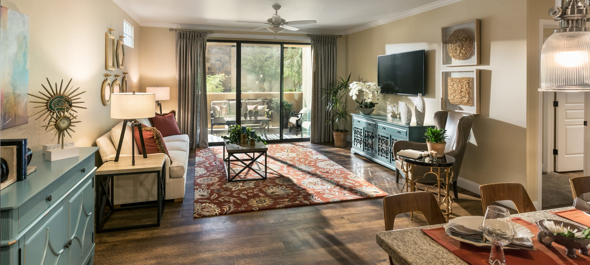 Beautiful model living room with excellent decor at San Portales in Scottsdale, Arizona