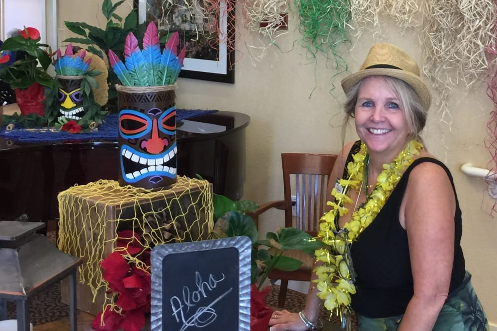 The annual luau party at The Pines, A Merrill Gardens Community in Rocklin, California.