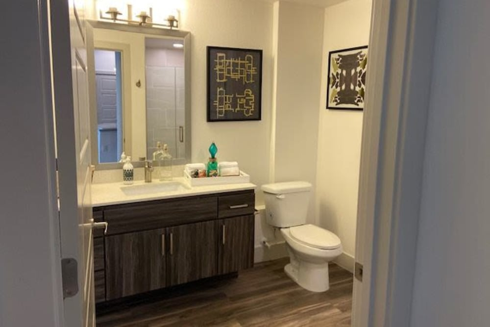 Modern Bathroom Layouts At The District at Chandler In Chandler, Arizona Features Large Vanity Mirror